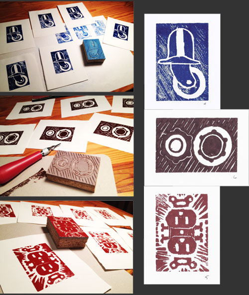 linocuts - everyday objects