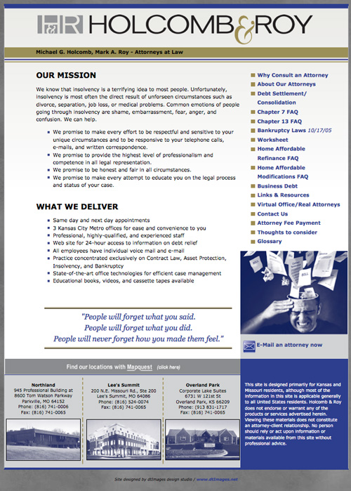 Holcomb & Roy law firm site